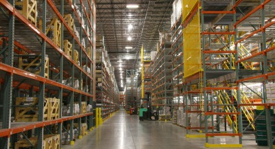Distribution center warehouse aisle